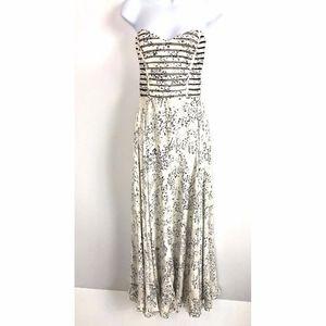 PARKER TAMARA Stripe Print Silk Strapless Dress S